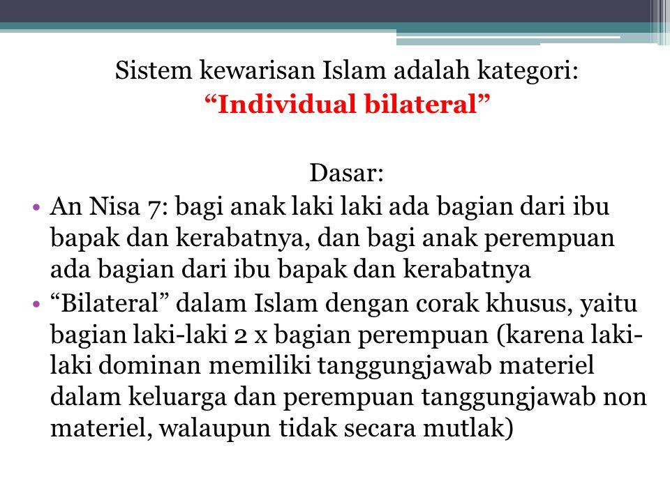 """Sistem kewarisan Islam adalah kategori: """"Individual bilateral"""" Dasar: An Nisa 7: bagi anak laki laki ada bagian dari ibu bapak dan kerabatnya, dan bag"""