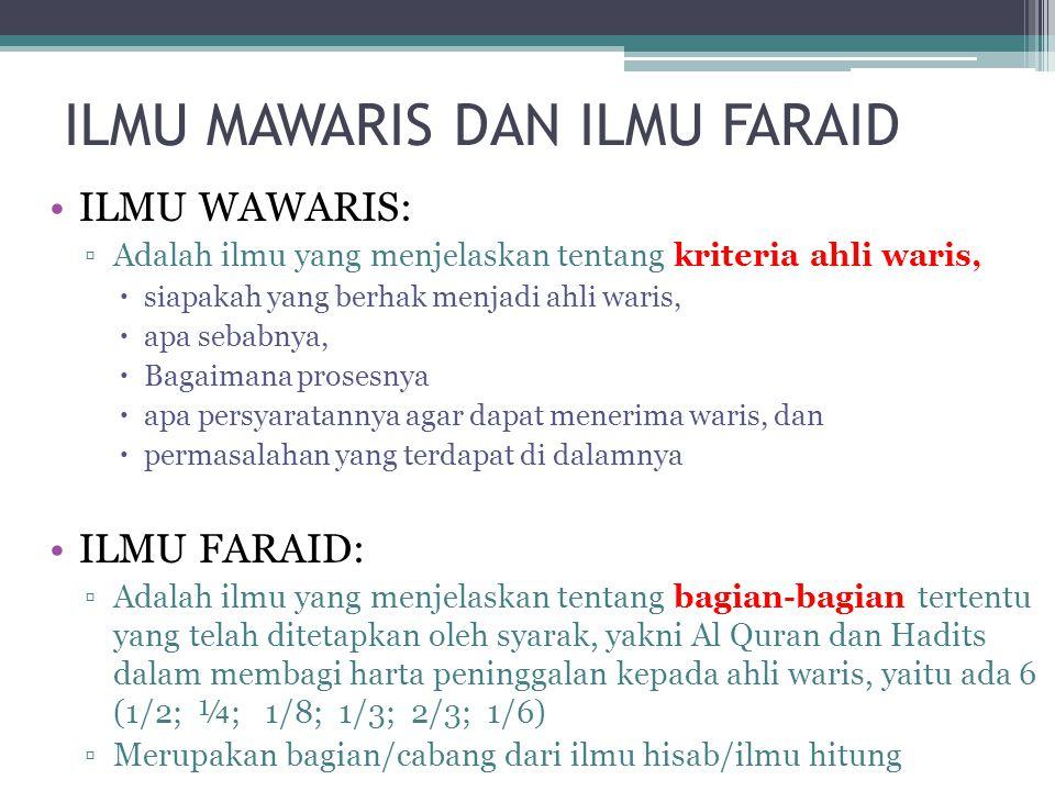 ILMU MAWARIS DAN ILMU FARAID ILMU WAWARIS: ▫Adalah ilmu yang menjelaskan tentang kriteria ahli waris,  siapakah yang berhak menjadi ahli waris,  apa