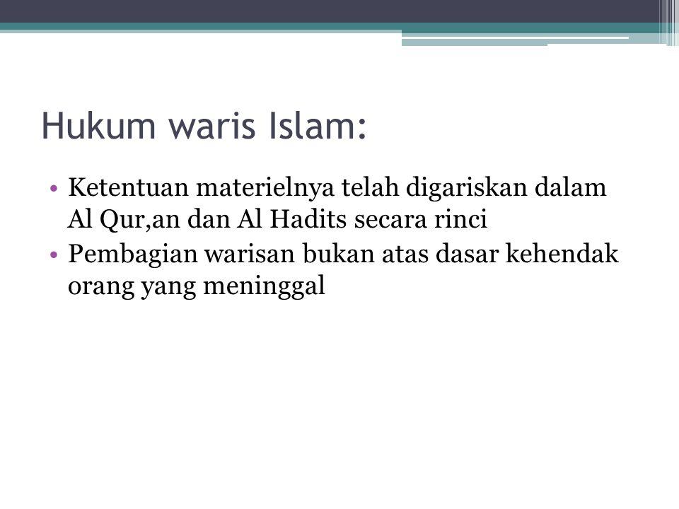Hukum waris Islam: Ketentuan materielnya telah digariskan dalam Al Qur,an dan Al Hadits secara rinci Pembagian warisan bukan atas dasar kehendak orang