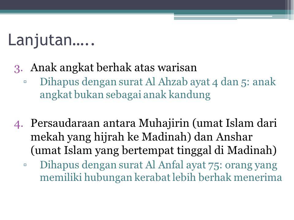 Lanjutan….. 3.Anak angkat berhak atas warisan ▫Dihapus dengan surat Al Ahzab ayat 4 dan 5: anak angkat bukan sebagai anak kandung 4.Persaudaraan antar