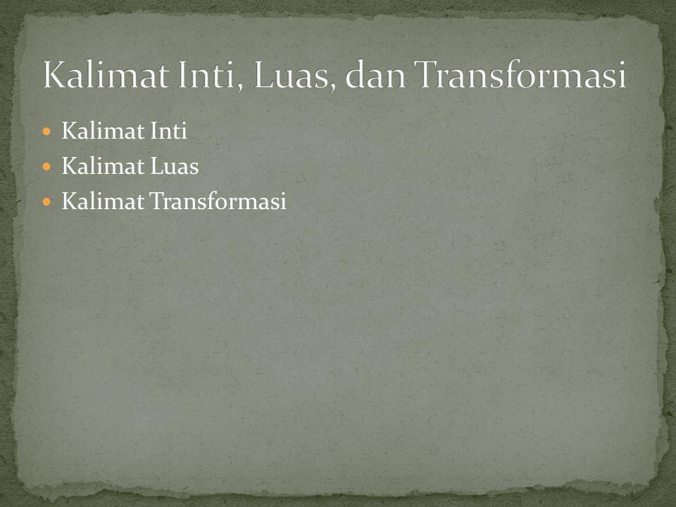 Kalimat Inti Kalimat Luas Kalimat Transformasi