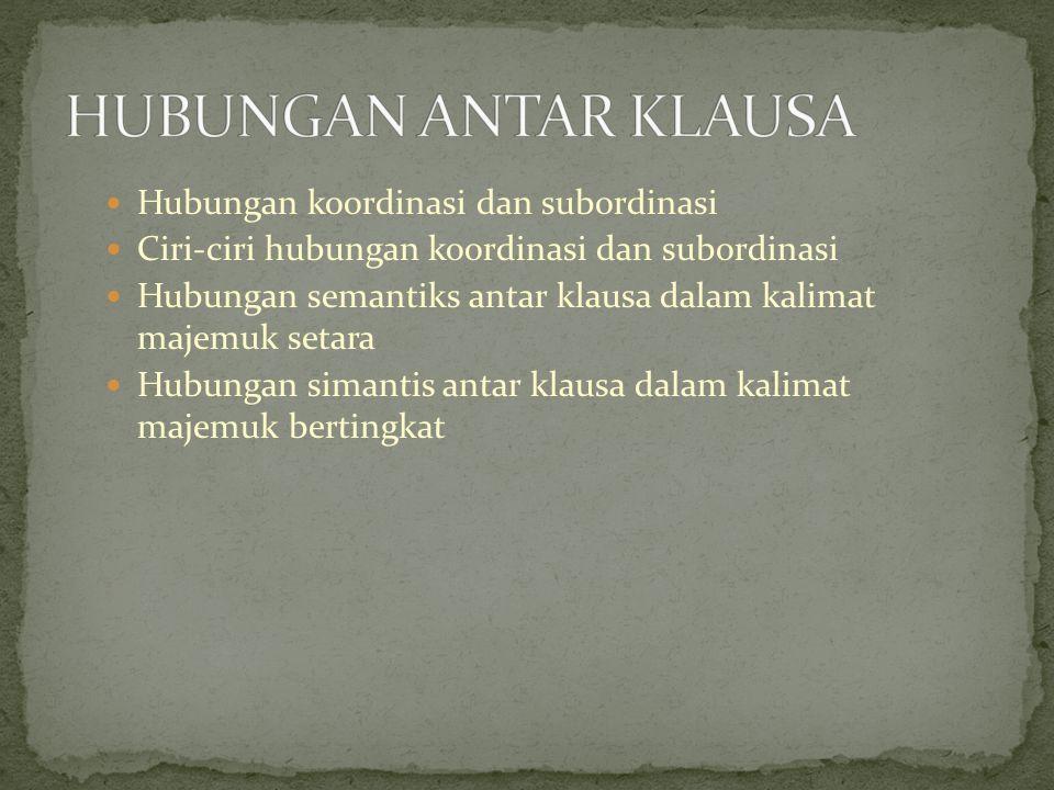 Hubungan koordinasi dan subordinasi Ciri-ciri hubungan koordinasi dan subordinasi Hubungan semantiks antar klausa dalam kalimat majemuk setara Hubunga