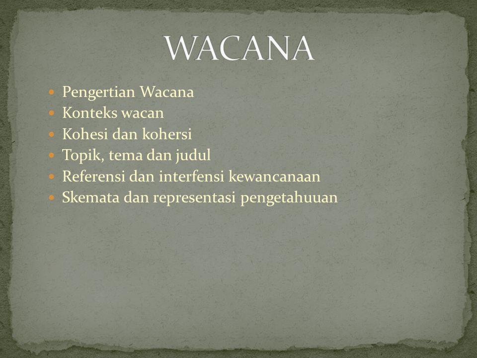 Pengertian Wacana Konteks wacan Kohesi dan kohersi Topik, tema dan judul Referensi dan interfensi kewancanaan Skemata dan representasi pengetahuuan