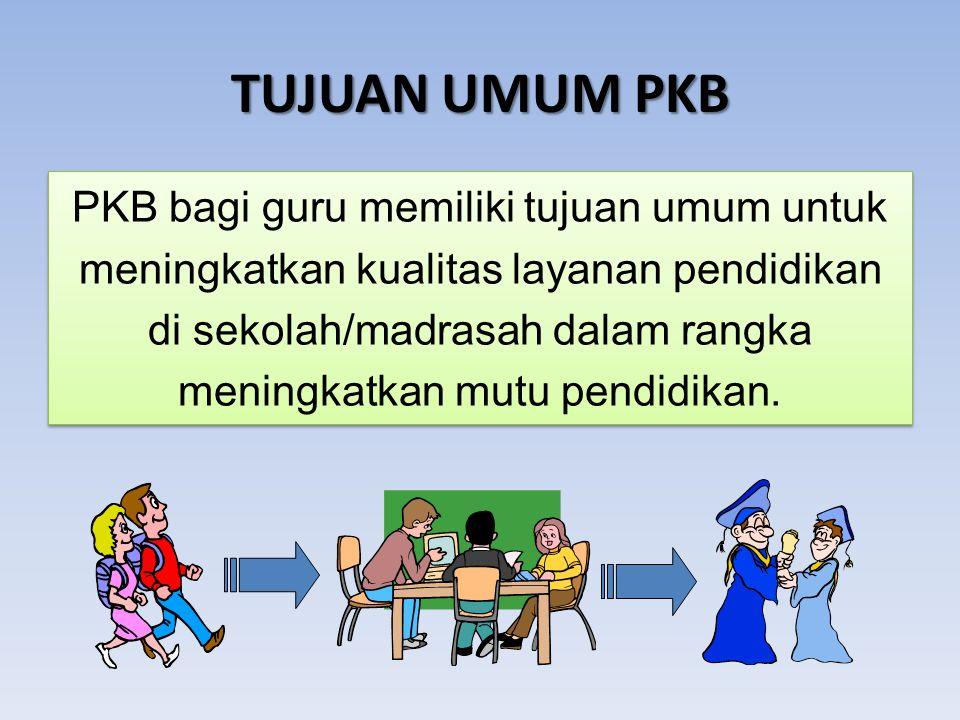 TUJUAN UMUM PKB PKB bagi guru memiliki tujuan umum untuk meningkatkan kualitas layanan pendidikan di sekolah/madrasah dalam rangka meningkatkan mutu pendidikan.