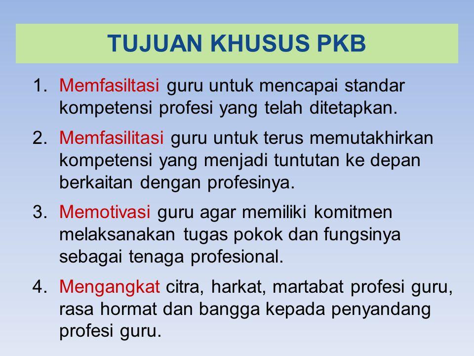 TUJUAN KHUSUS PKB 1.Memfasiltasi guru untuk mencapai standar kompetensi profesi yang telah ditetapkan.