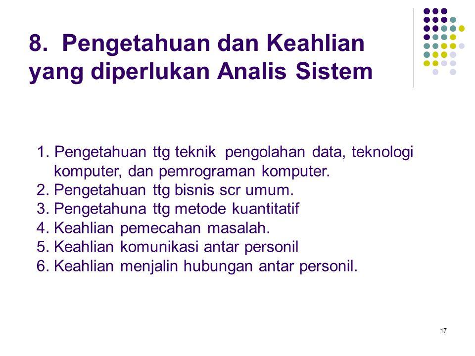 17 8.Pengetahuan dan Keahlian yang diperlukan Analis Sistem 1.