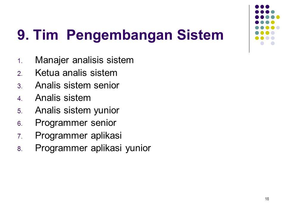 18 9.Tim Pengembangan Sistem 1. Manajer analisis sistem 2.