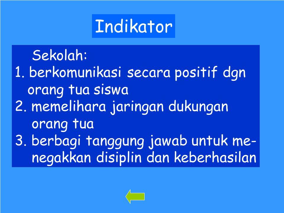102 Indikator Sekolah: 1. berkomunikasi secara positif dgn orang tua siswa 2. memelihara jaringan dukungan orang tua 3. berbagi tanggung jawab untuk m