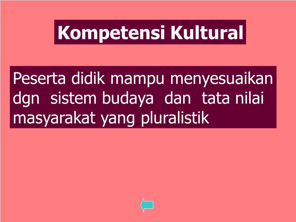 18 Kompetensi Kultural Peserta didik mampu menyesuaikan dgn sistem budaya dan tata nilai masyarakat yang pluralistik