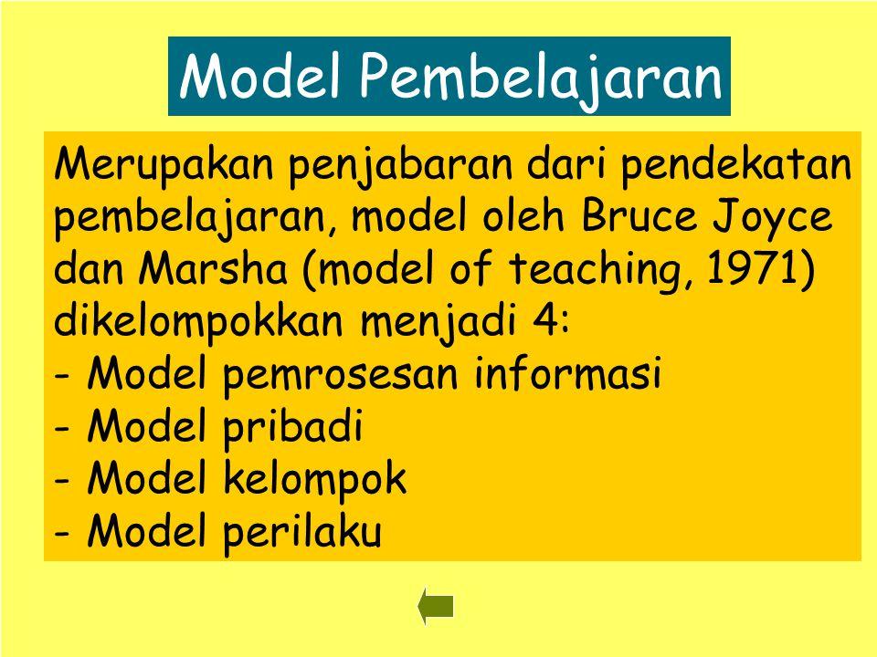 23 Model Pembelajaran Merupakan penjabaran dari pendekatan pembelajaran, model oleh Bruce Joyce dan Marsha (model of teaching, 1971) dikelompokkan men