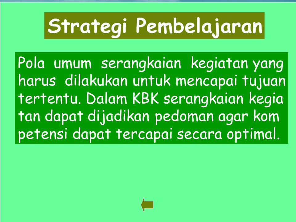 24 Strategi Pembelajaran Pola umum serangkaian kegiatan yang harus dilakukan untuk mencapai tujuan tertentu. Dalam KBK serangkaian kegia tan dapat dij