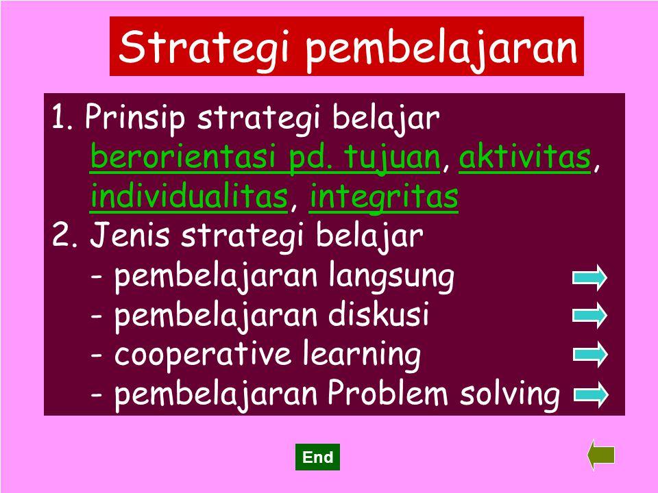 31 Strategi pembelajaran 1. Prinsip strategi belajar Prinsip strategi belajar berorientasi pd. tujuan, aktivitas, individualitas, integritas 2. Jenis