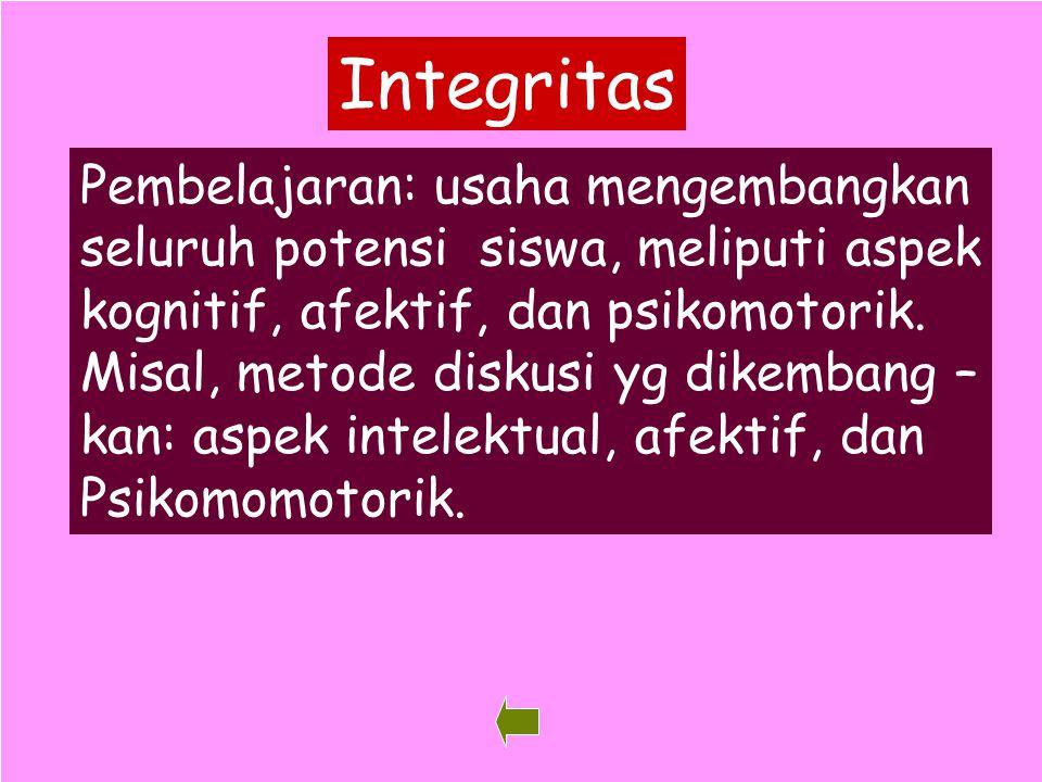 35 Integritas Pembelajaran: usaha mengembangkan seluruh potensi siswa, meliputi aspek kognitif, afektif, dan psikomotorik. Misal, metode diskusi yg di