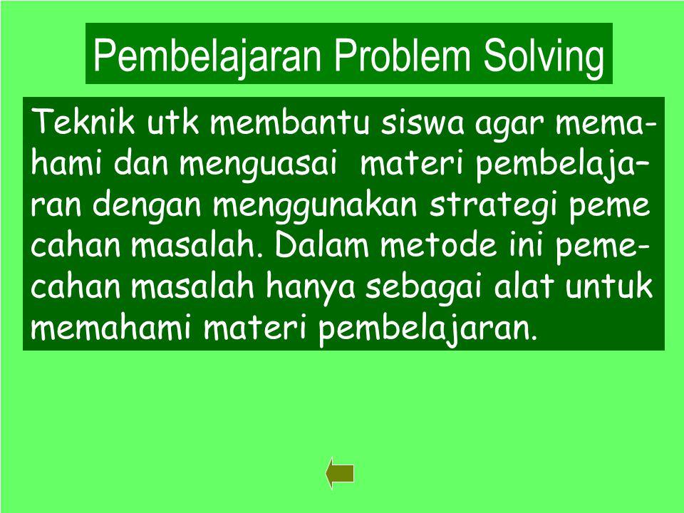 39 Pembelajaran Problem Solving Teknik utk membantu siswa agar mema- hami dan menguasai materi pembelaja– ran dengan menggunakan strategi peme cahan masalah.