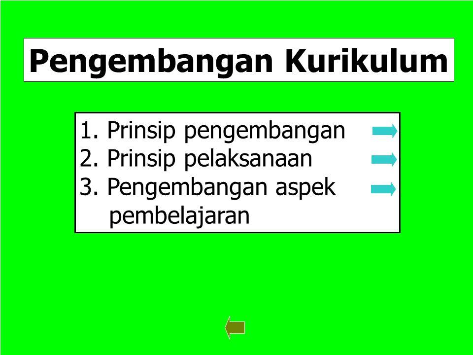 5 Pengembangan Kurikulum 1. Prinsip pengembangan Prinsip pengembangan 2. Prinsip pelaksanaan Prinsip pelaksanaan 3. Pengembangan aspek Pengembangan as