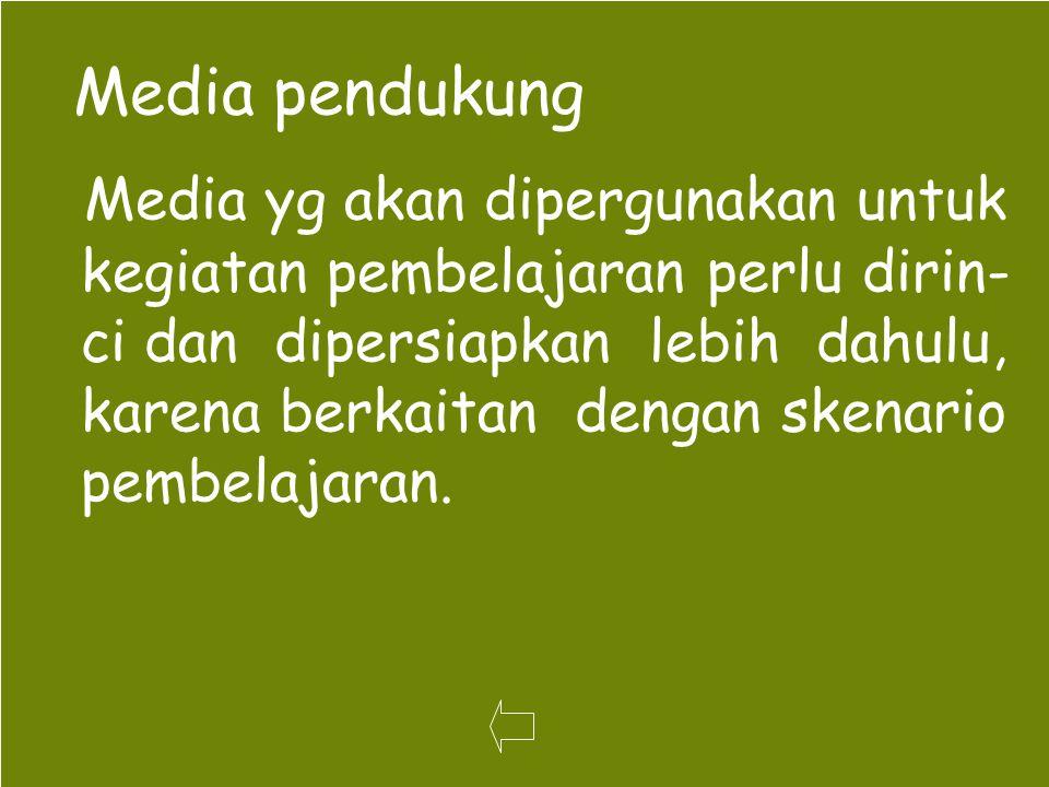 67 Media pendukung Media yg akan dipergunakan untuk kegiatan pembelajaran perlu dirin- ci dan dipersiapkan lebih dahulu, karena berkaitan dengan skena