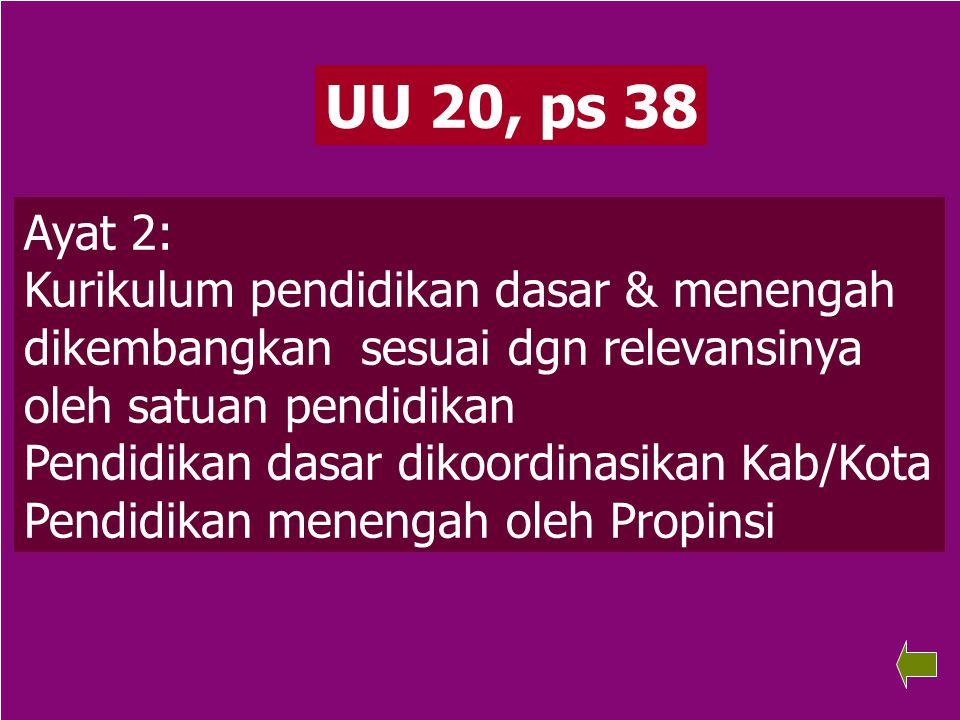 72 UU 20, ps 38 Ayat 2: Kurikulum pendidikan dasar & menengah dikembangkan sesuai dgn relevansinya oleh satuan pendidikan Pendidikan dasar dikoordinasikan Kab/Kota Pendidikan menengah oleh Propinsi