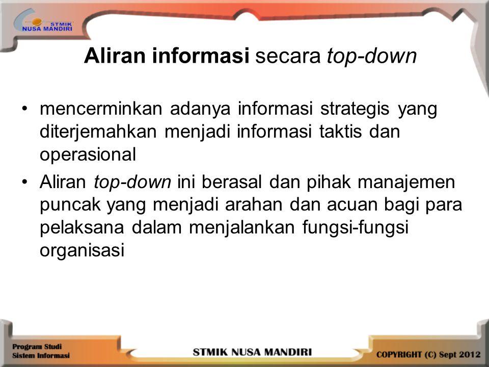 mencerminkan adanya informasi strategis yang diterjemahkan menjadi informasi taktis dan operasional Aliran top-down ini berasal dan pihak manajemen puncak yang menjadi arahan dan acuan bagi para pelaksana dalam menjalankan fungsi-fungsi organisasi Aliran informasi secara top-down