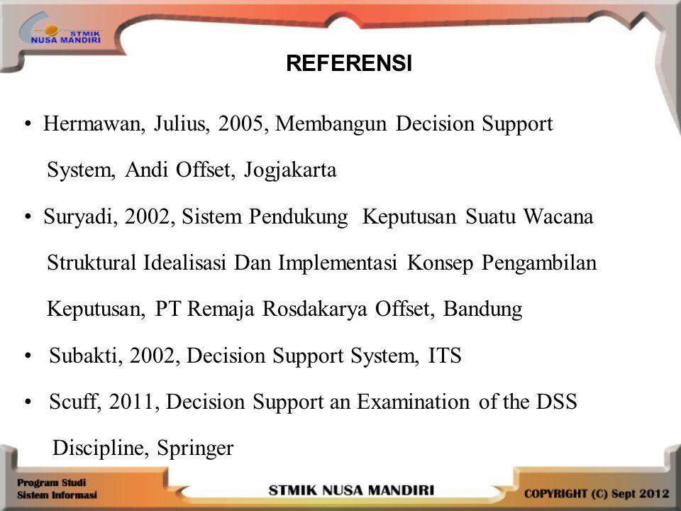 Hermawan, Julius, 2005, Membangun Decision Support System, Andi Offset, Jogjakarta Suryadi, 2002, Sistem Pendukung Keputusan Suatu Wacana Struktural Idealisasi Dan Implementasi Konsep Pengambilan Keputusan, PT Remaja Rosdakarya Offset, Bandung Subakti, 2002, Decision Support System, ITS Scuff, 2011, Decision Support an Examination of the DSS Discipline, Springer REFERENSI