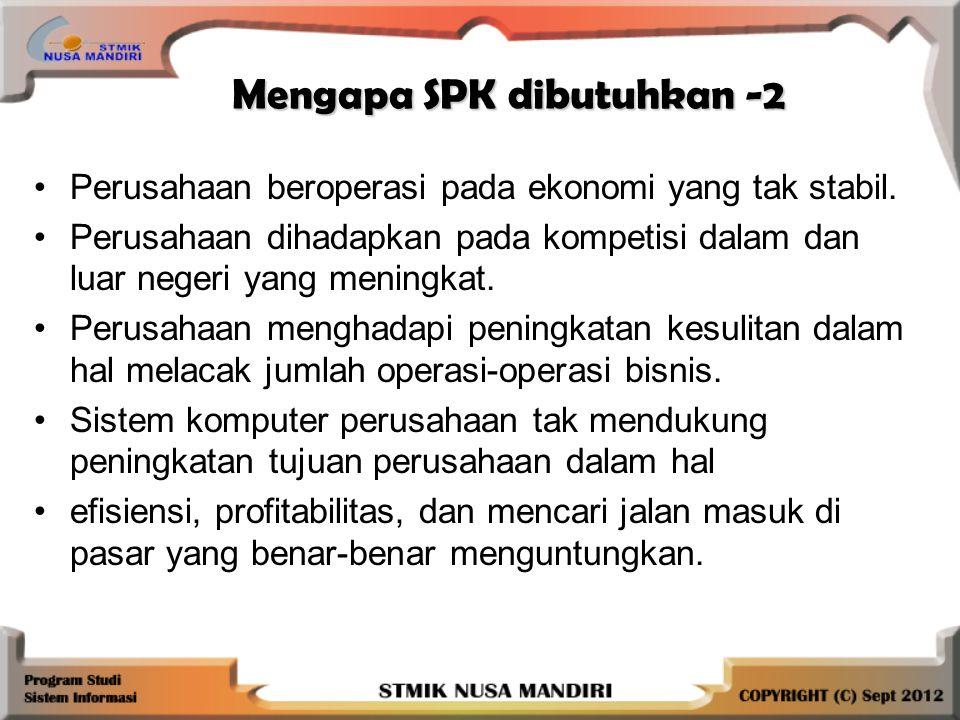 Mengapa SPK dibutuhkan -2 Perusahaan beroperasi pada ekonomi yang tak stabil.