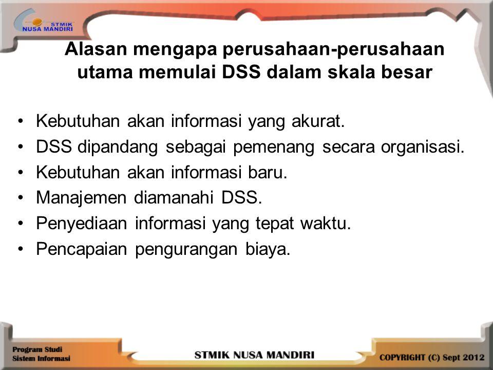 Alasan mengapa perusahaan-perusahaan utama memulai DSS dalam skala besar Kebutuhan akan informasi yang akurat.