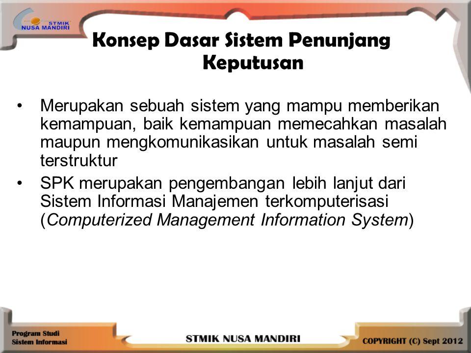 Konsep Dasar Sistem Penunjang Keputusan Merupakan sebuah sistem yang mampu memberikan kemampuan, baik kemampuan memecahkan masalah maupun mengkomunikasikan untuk masalah semi terstruktur SPK merupakan pengembangan lebih lanjut dari Sistem Informasi Manajemen terkomputerisasi (Computerized Management Information System)