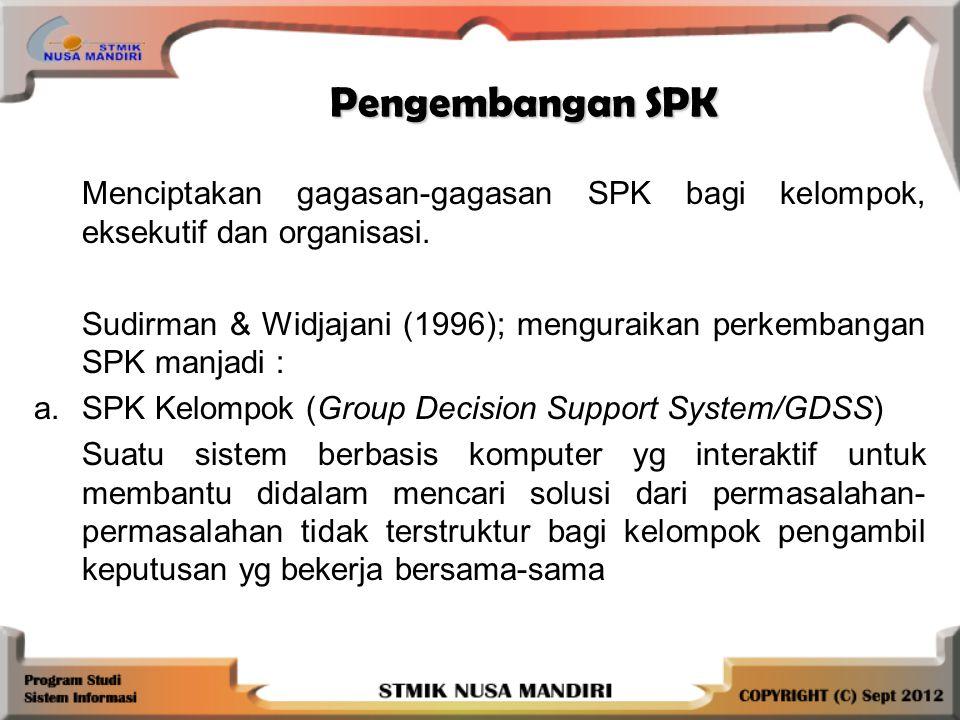 Pengembangan SPK Menciptakan gagasan-gagasan SPK bagi kelompok, eksekutif dan organisasi.