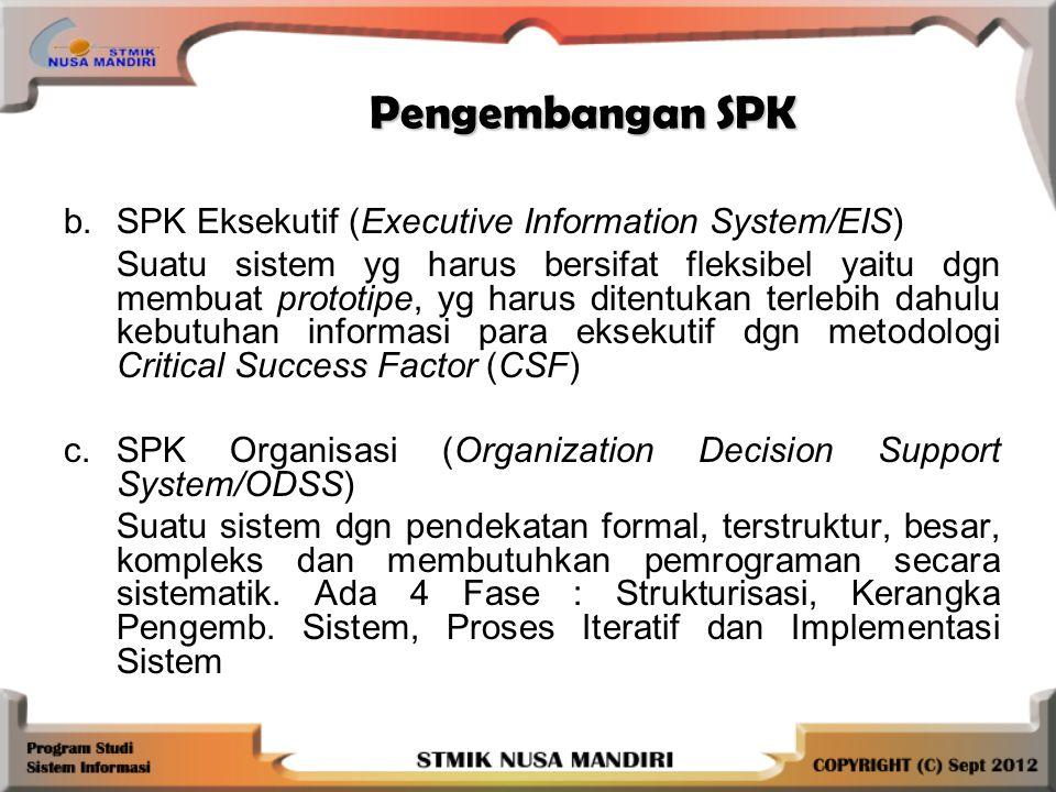 Pengembangan SPK Pengembangan SPK b.SPK Eksekutif (Executive Information System/EIS) Suatu sistem yg harus bersifat fleksibel yaitu dgn membuat prototipe, yg harus ditentukan terlebih dahulu kebutuhan informasi para eksekutif dgn metodologi Critical Success Factor (CSF) c.SPK Organisasi (Organization Decision Support System/ODSS) Suatu sistem dgn pendekatan formal, terstruktur, besar, kompleks dan membutuhkan pemrograman secara sistematik.