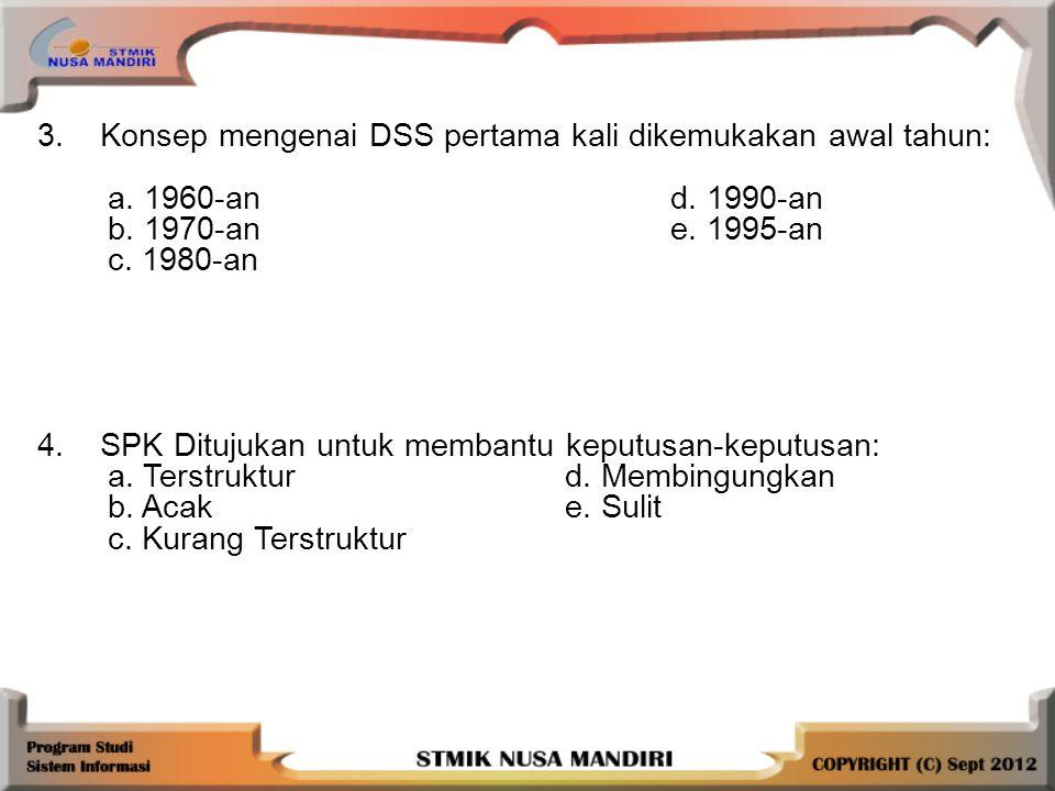 3.Konsep mengenai DSS pertama kali dikemukakan awal tahun: a.