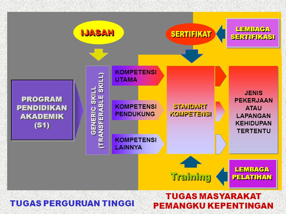 GENERIC SKILL (TRANSFERABLE SKILL) KOMPETENSI UTAMA KOMPETENSI PENDUKUNG KOMPETENSI LAINNYA PROGRAM PENDIDIKAN AKADEMIK (S1) IJASAH STANDART KOMPETENS