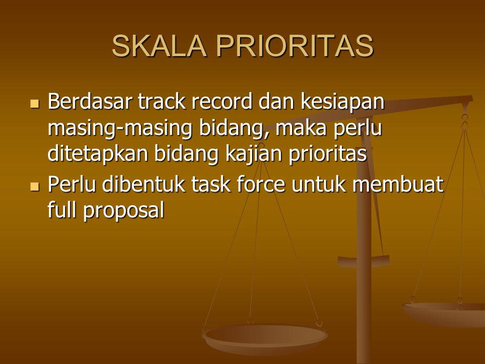 SKALA PRIORITAS Berdasar track record dan kesiapan masing-masing bidang, maka perlu ditetapkan bidang kajian prioritas Berdasar track record dan kesia