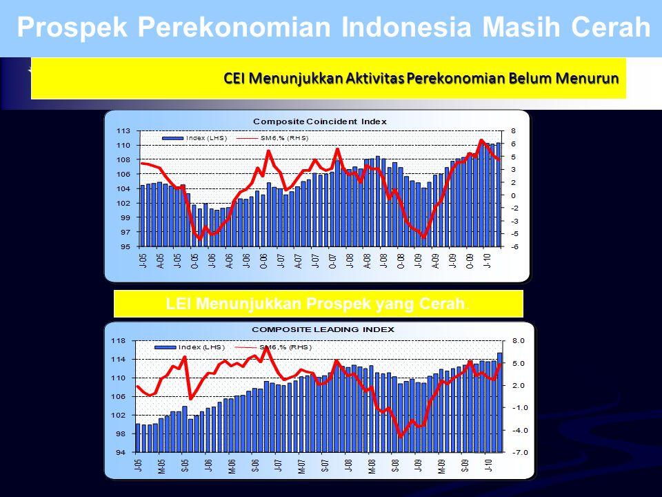 CEI Menunjukkan Aktivitas Perekonomian Belum Menurun Prospek Perekonomian Indonesia Masih Cerah LEI Menunjukkan Prospek yang Cerah.