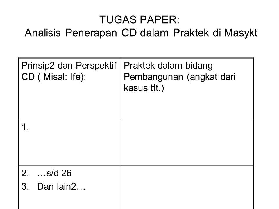 TUGAS PAPER: Analisis Penerapan CD dalam Praktek di Masykt Prinsip2 dan Perspektif CD ( Misal: Ife): Praktek dalam bidang Pembangunan (angkat dari kasus ttt.) 1.