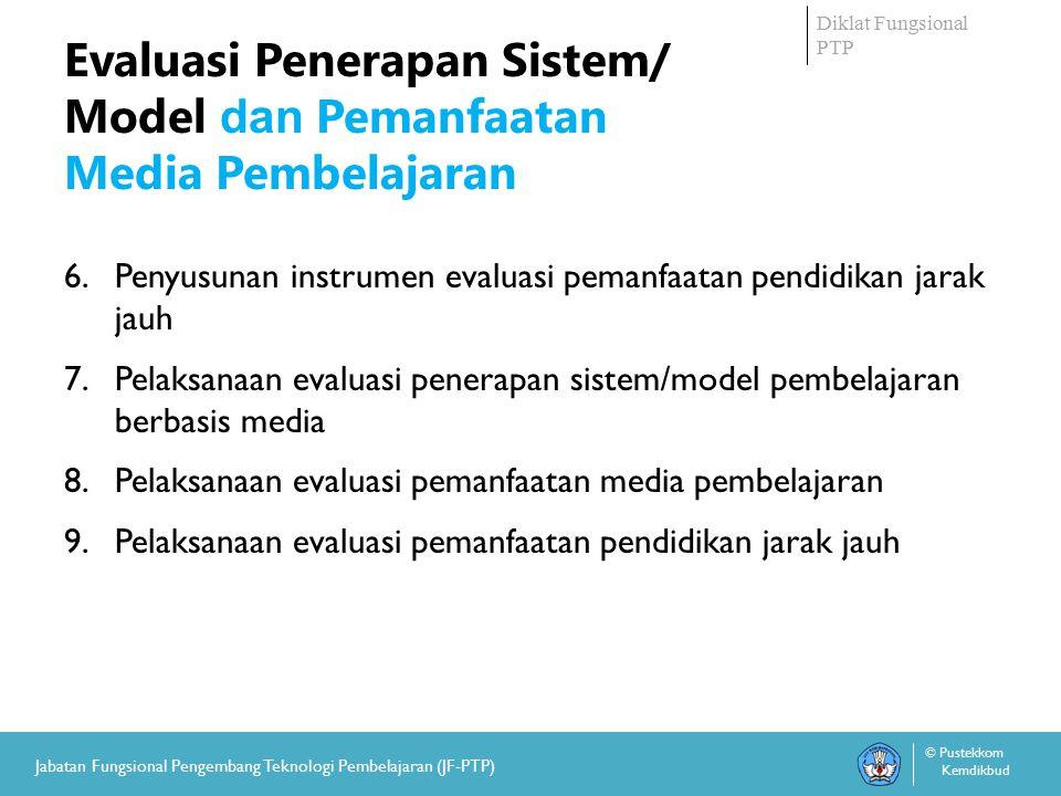 Diklat Fungsional PTP © Pustekkom Kemdikbud Jabatan Fungsional Pengembang Teknologi Pembelajaran (JF-PTP) Evaluasi Penerapan Sistem/ Model dan Pemanfaatan Media Pembelajaran 6.Penyusunan instrumen evaluasi pemanfaatan pendidikan jarak jauh 7.Pelaksanaan evaluasi penerapan sistem/model pembelajaran berbasis media 8.Pelaksanaan evaluasi pemanfaatan media pembelajaran 9.Pelaksanaan evaluasi pemanfaatan pendidikan jarak jauh