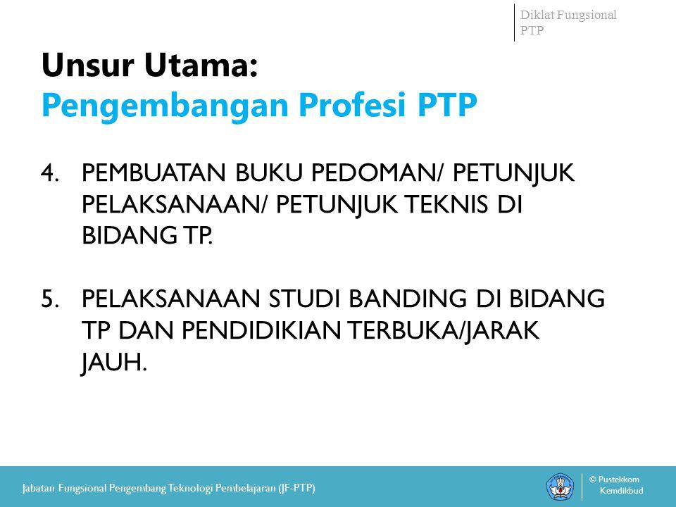Diklat Fungsional PTP © Pustekkom Kemdikbud Jabatan Fungsional Pengembang Teknologi Pembelajaran (JF-PTP) Unsur dan Sub-unsur Kegiatan Yang Dinilai Angka Kreditnya UNSUR PENUNJANG TUGAS: 1.