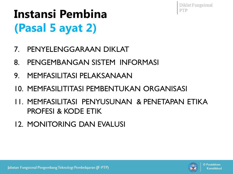 Diklat Fungsional PTP © Pustekkom Kemdikbud Jabatan Fungsional Pengembang Teknologi Pembelajaran (JF-PTP) Jenjang Jabatan dan Pangkat JABFUNG PTP adalah Jabatan tingkat AHLI dengan jenjang jabatan: 1.