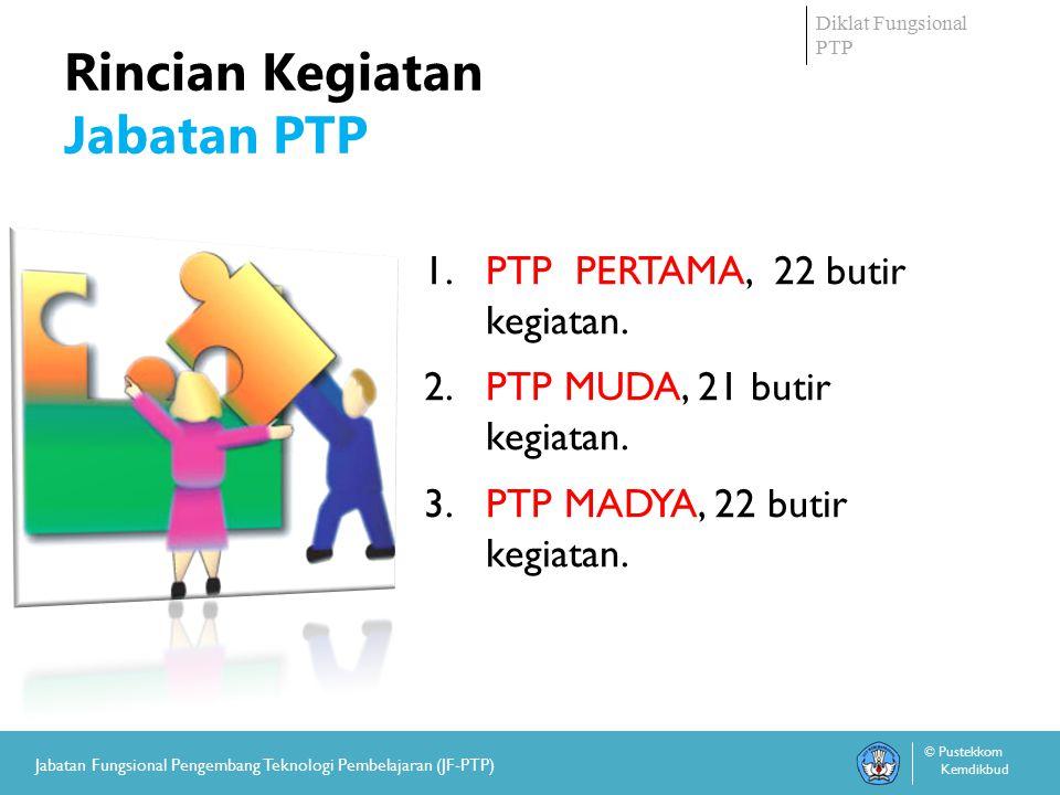 Diklat Fungsional PTP © Pustekkom Kemdikbud Jabatan Fungsional Pengembang Teknologi Pembelajaran (JF-PTP) Rincian Kegiatan Jabatan PTP 1.