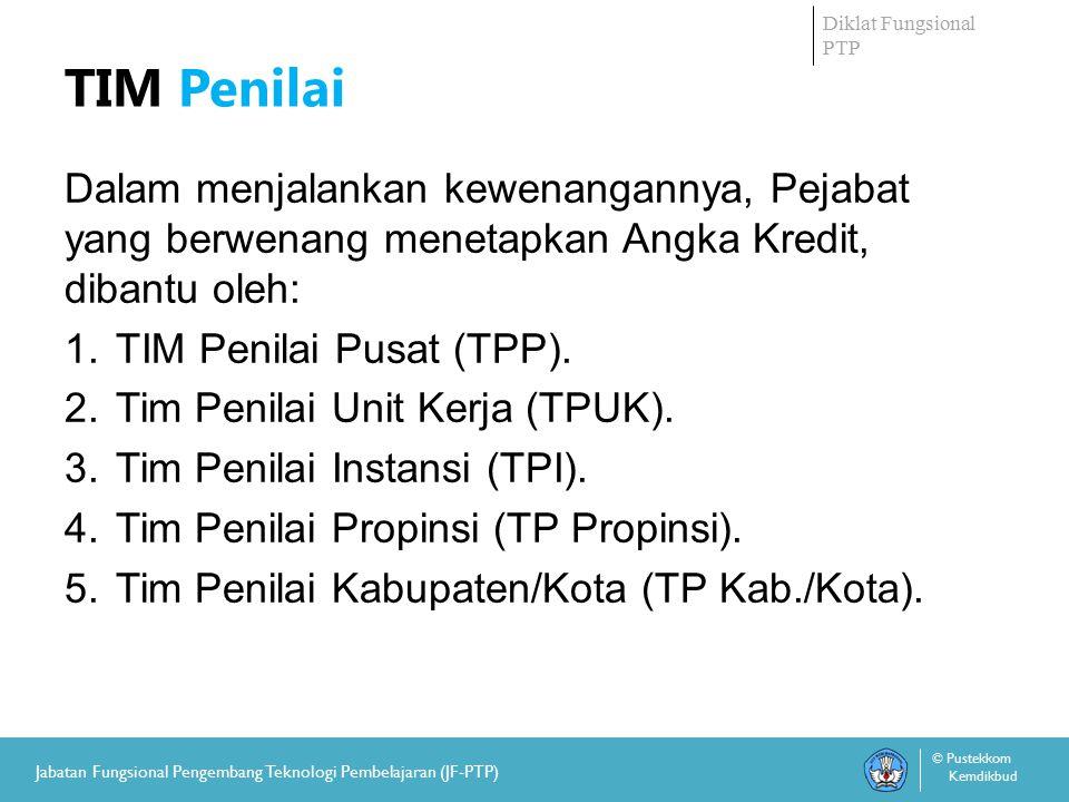 Diklat Fungsional PTP © Pustekkom Kemdikbud Jabatan Fungsional Pengembang Teknologi Pembelajaran (JF-PTP) TIM Penilai Dalam menjalankan kewenangannya, Pejabat yang berwenang menetapkan Angka Kredit, dibantu oleh: 1.
