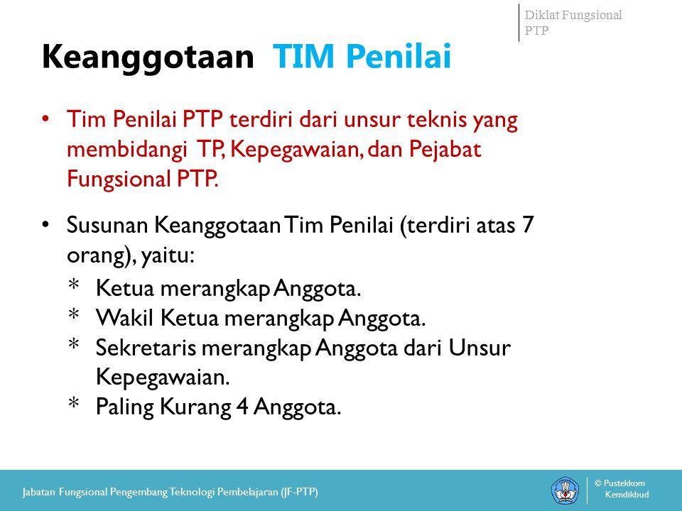Diklat Fungsional PTP © Pustekkom Kemdikbud Jabatan Fungsional Pengembang Teknologi Pembelajaran (JF-PTP) Keanggotaan TIM Penilai Tim Penilai PTP terdiri dari unsur teknis yang membidangi TP, Kepegawaian, dan Pejabat Fungsional PTP.
