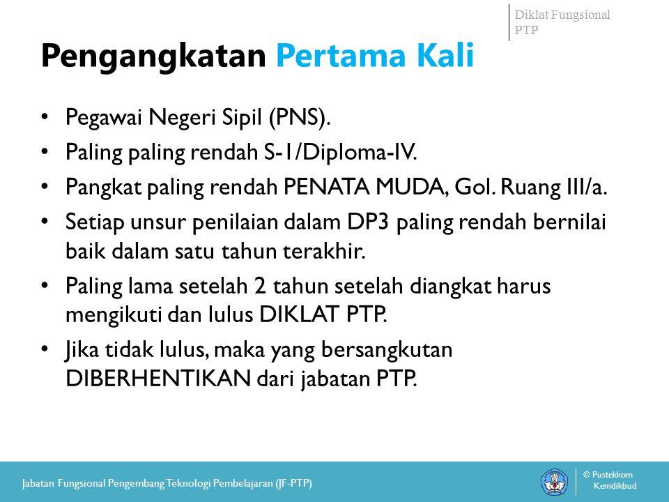 Diklat Fungsional PTP © Pustekkom Kemdikbud Jabatan Fungsional Pengembang Teknologi Pembelajaran (JF-PTP) Pengangkatan Pertama Kali Pegawai Negeri Sipil (PNS).