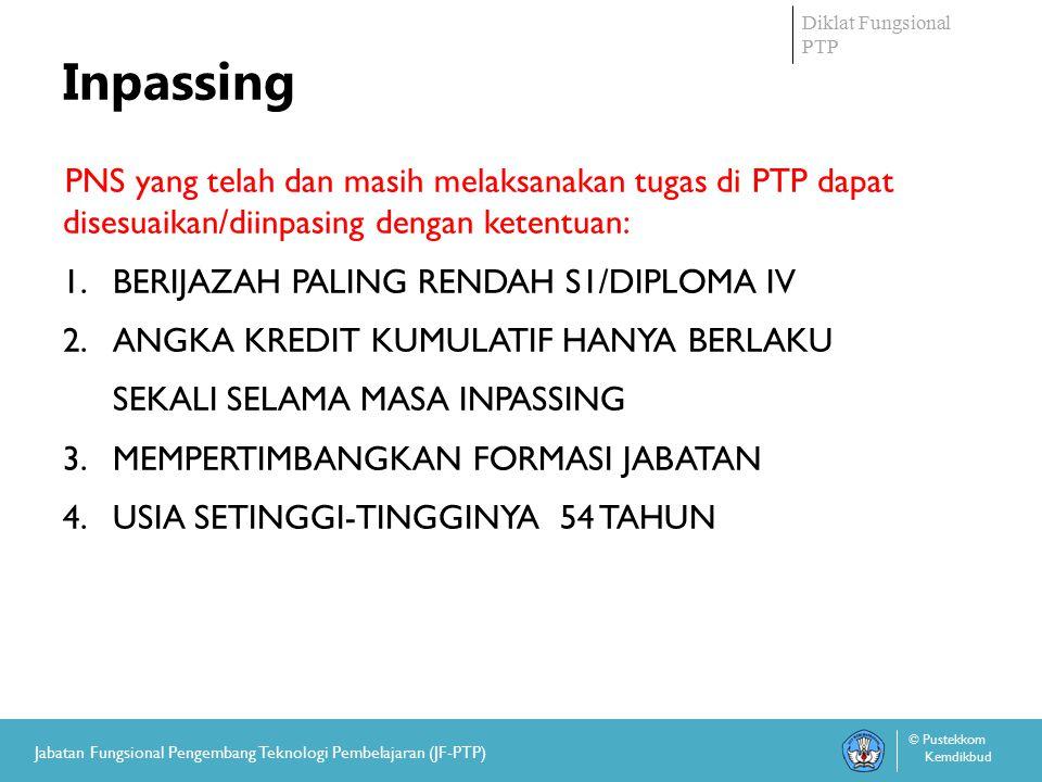 Diklat Fungsional PTP © Pustekkom Kemdikbud Jabatan Fungsional Pengembang Teknologi Pembelajaran (JF-PTP) Inpassing PNS yang telah dan masih melaksanakan tugas di PTP dapat disesuaikan/diinpasing dengan ketentuan: 1.