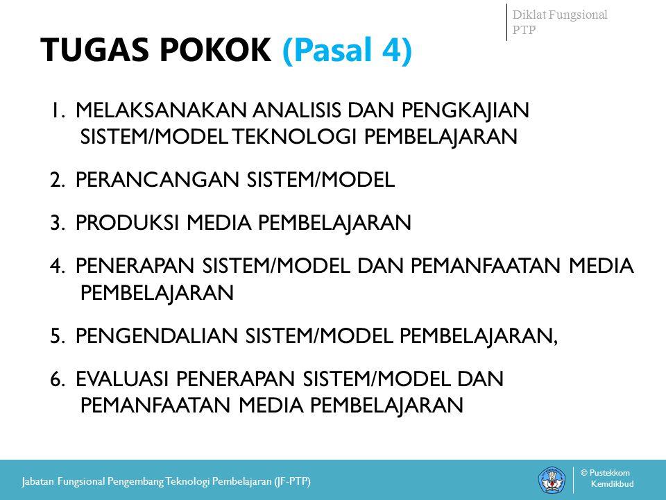 Diklat Fungsional PTP © Pustekkom Kemdikbud Jabatan Fungsional Pengembang Teknologi Pembelajaran (JF-PTP) TUGAS POKOK (Pasal 4) 1.