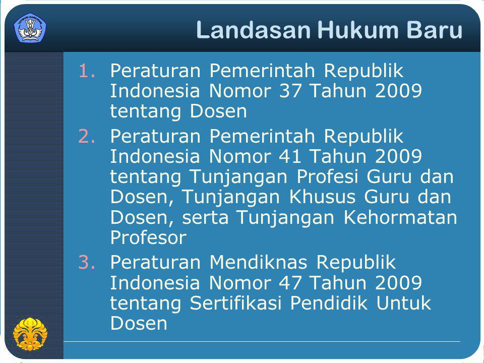 Landasan Hukum Baru 1.Peraturan Pemerintah Republik Indonesia Nomor 37 Tahun 2009 tentang Dosen 2.Peraturan Pemerintah Republik Indonesia Nomor 41 Tah