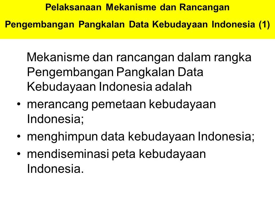 Pelaksanaan Mekanisme dan Rancangan Pengembangan Pangkalan Data Kebudayaan Indonesia (1) Mekanisme dan rancangan dalam rangka Pengembangan Pangkalan D