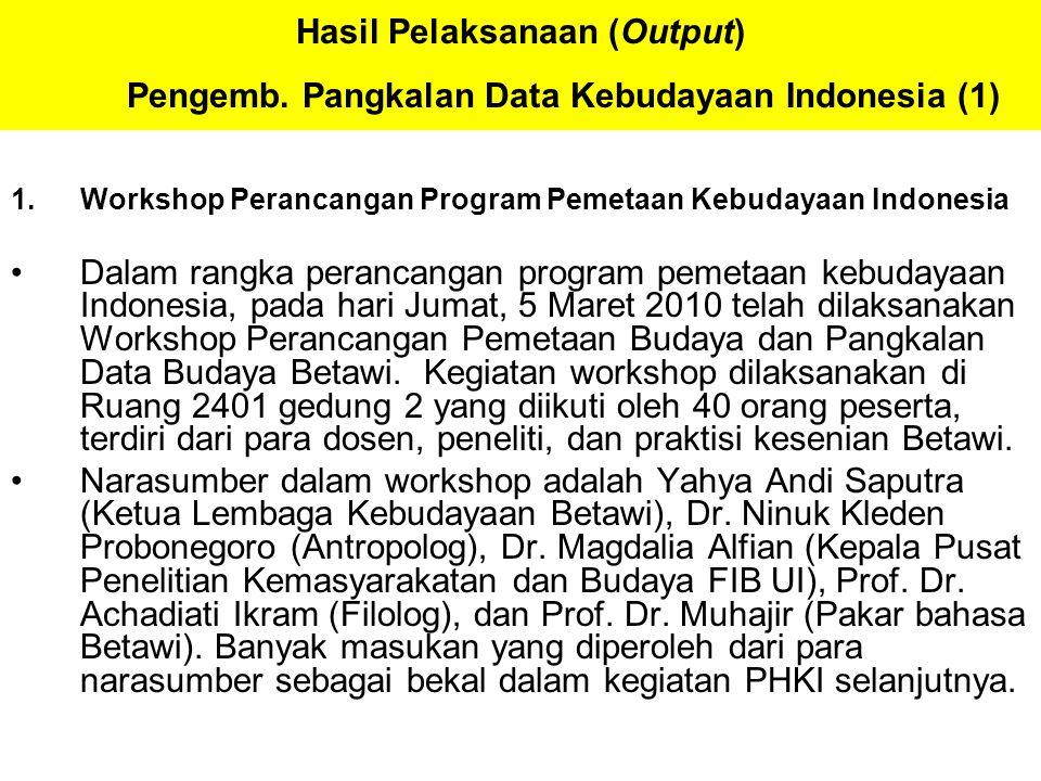 Hasil Pelaksanaan (Output) Pengemb. Pangkalan Data Kebudayaan Indonesia (1) 1.Workshop Perancangan Program Pemetaan Kebudayaan Indonesia Dalam rangka