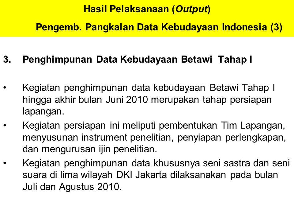 Hasil Pelaksanaan (Output) Pengemb. Pangkalan Data Kebudayaan Indonesia (3) 3.Penghimpunan Data Kebudayaan Betawi Tahap I Kegiatan penghimpunan data k