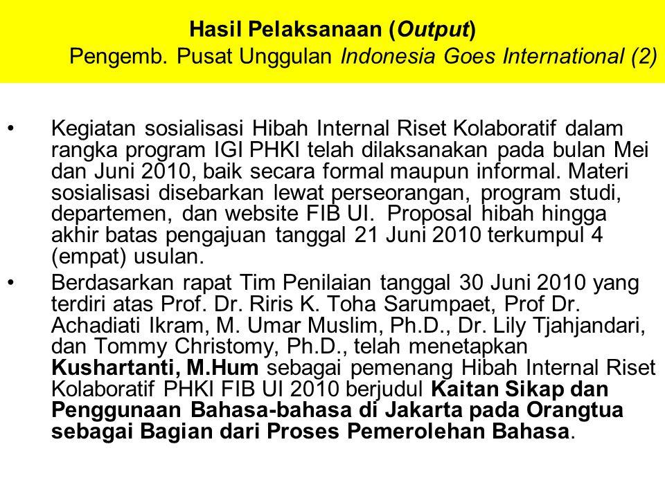 Hasil Pelaksanaan (Output) Pengemb. Pusat Unggulan Indonesia Goes International (2) Kegiatan sosialisasi Hibah Internal Riset Kolaboratif dalam rangka