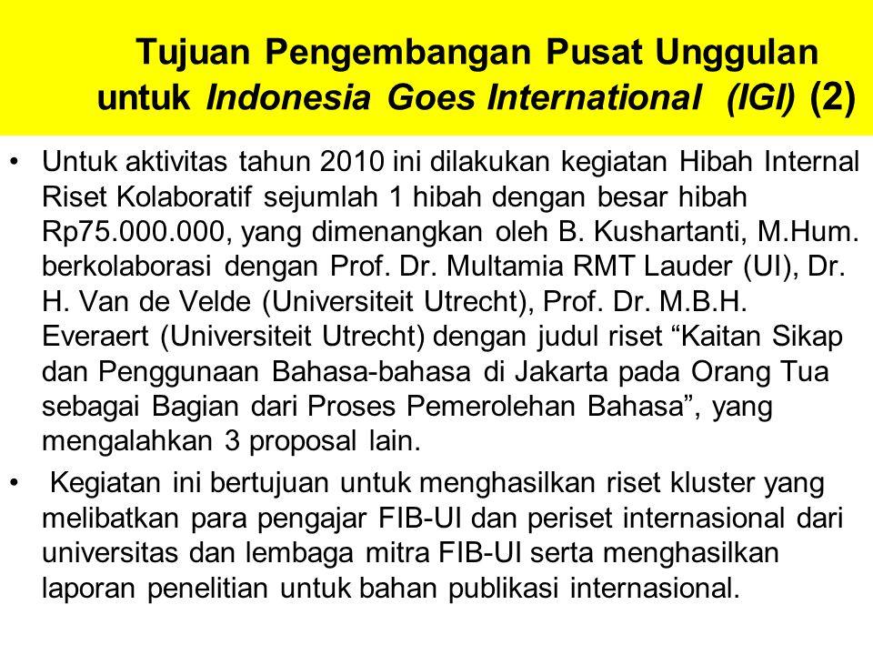 Tujuan Pengembangan Pusat Unggulan untuk Indonesia Goes International (IGI) (2) Untuk aktivitas tahun 2010 ini dilakukan kegiatan Hibah Internal Riset Kolaboratif sejumlah 1 hibah dengan besar hibah Rp75.000.000, yang dimenangkan oleh B.