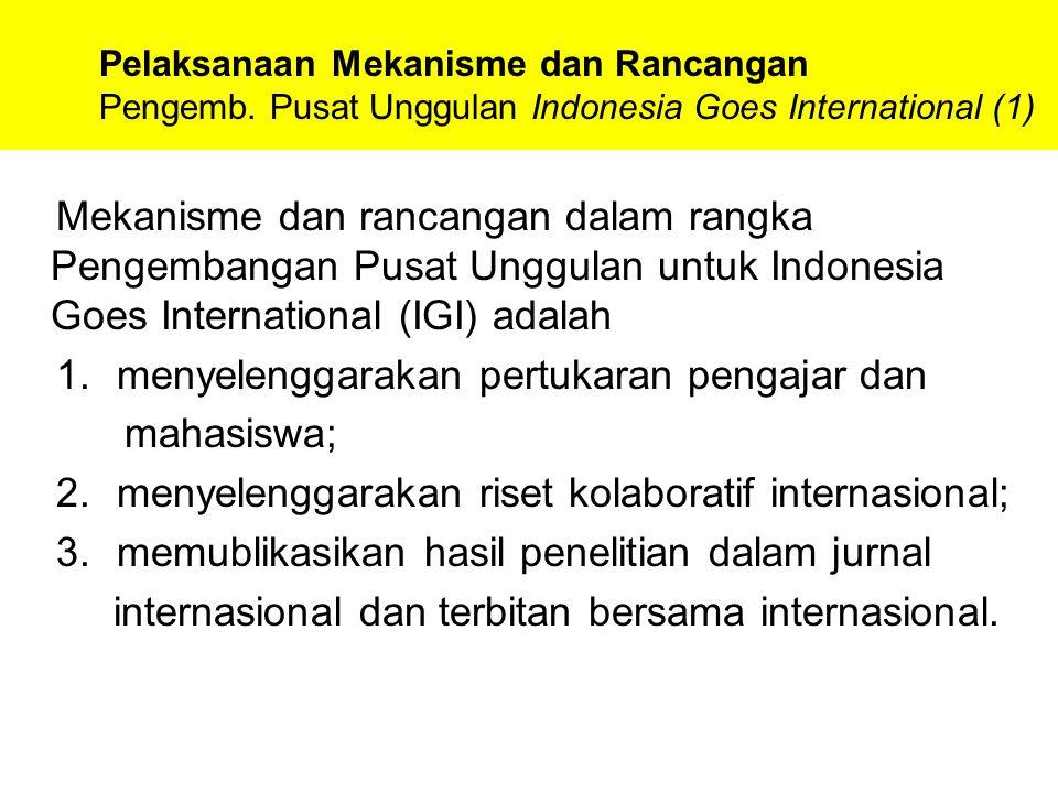 Pelaksanaan Mekanisme dan Rancangan Pengemb. Pusat Unggulan Indonesia Goes International (1) Mekanisme dan rancangan dalam rangka Pengembangan Pusat U