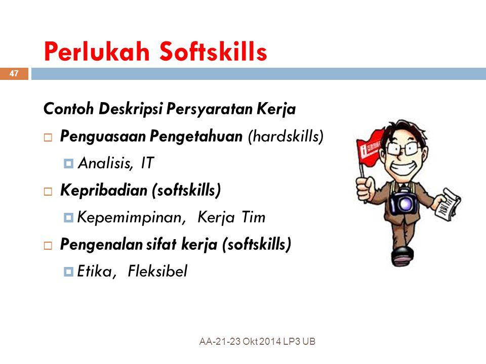 Sarjana Kompeten  Memiliki Hardskills  Knowledge  Skill  Memiliki Softskills  Intra-Personal  Inter-Personal 46 AA-21-23 Okt 2014 LP3 UB